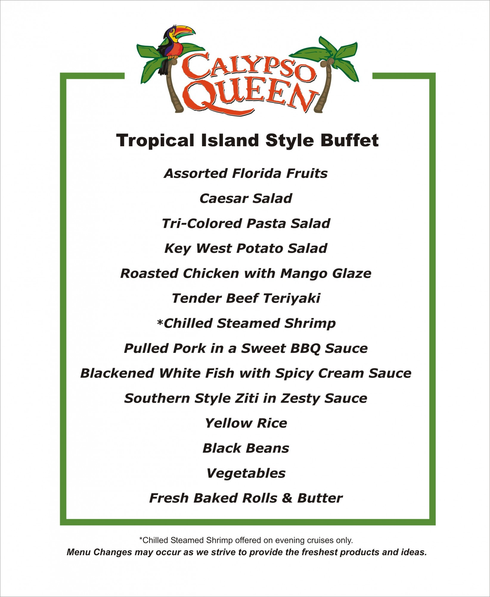 evening casual tropical buffet